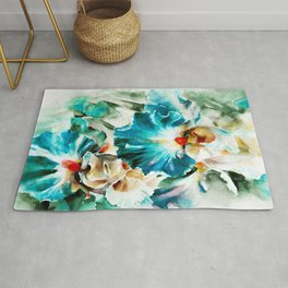 Beautiful watercolor flowers,background of flower petals in rich blue and green tones. H watercolor Rug