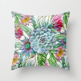 Exotic flower garden Throw Pillow