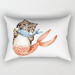 Cute Purrmaid Cat Mermaid Rectangular Pillow