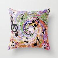 music notes Throw Pillows featuring Music Notes by gretzky