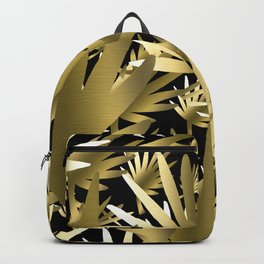 Modern color gold black tropical abstract leaves Backpack