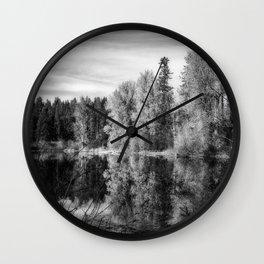 Autumn Makes an Appearance at Fish Lake bw Wall Clock