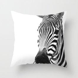 Black and white zebra illustration Throw Pillow