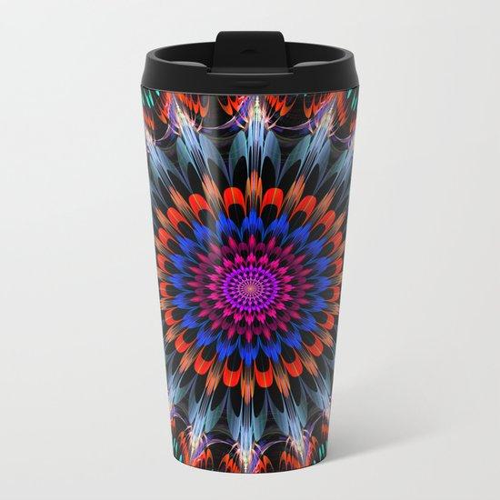 Full Bloom, multi-color design Metal Travel Mug