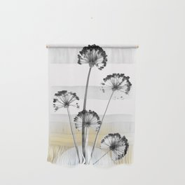 black and white flower wallpaper and the sun, flower decor, printable art Wall Hanging