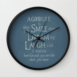 Smile,Dream,Laugh - Inspirational quote Wall Clock