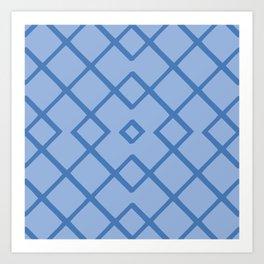 Bamboo Lattice Mudcloth in Delft Blue + Cornflower Art Print