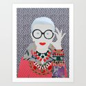 Iris Apfel printed reproduction of an original papercraft illustration by lepaolette