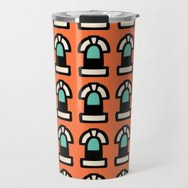 New York Windows Pattern 261 Orange and Green Travel Mug