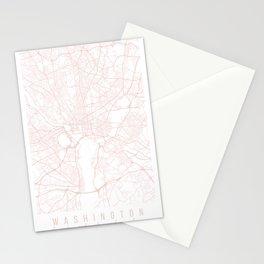 Washington DC Light Pink Minimal Street Map Stationery Cards