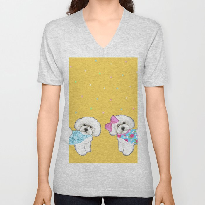 Bichon Frise Holidays yellow cute dogs, Christmas gift, holiday gift, birthday gift, dog, Bijon Unisex V-Neck