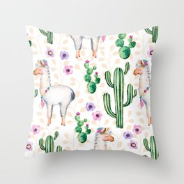 Colorful pattern cactus and lamas pattern Throw Pillow
