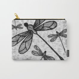 Bold black and white embroidered dragonflies on texture Carry-All Pouch