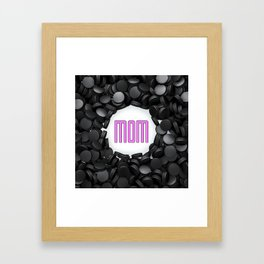 Hockey Mom / 3D render of hundreds of hockey pucks framing Mom text Framed Art Print