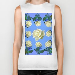 WHITE ROSES BLUE GREEN GARDEN DESIGN PATTERN Biker Tank