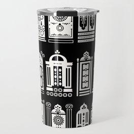 Moroccan Doors – White Ink on Black Travel Mug