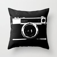 camera Throw Pillows featuring Camera by Maressa Andrioli