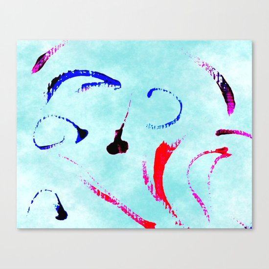 Extreme Aqua Brush Strokes Canvas Print
