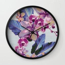 Tropical Vintage Plumerias Wall Clock