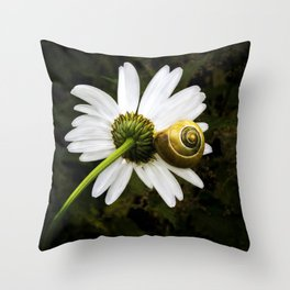 Daisy and snail Throw Pillow