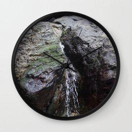 Cornish Waterfall Over Mossy Cliff Wall Clock