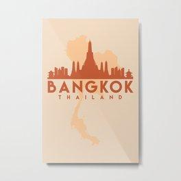 BANGKOK THAILAND CITY MAP SKYLINE EARTH TONES Metal Print