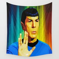 spock Wall Tapestries featuring Spock by The Art Of Gem Starr