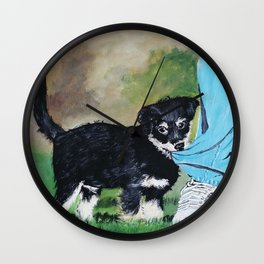 Oil painting of a cute dog playing with his owner Wall Clock