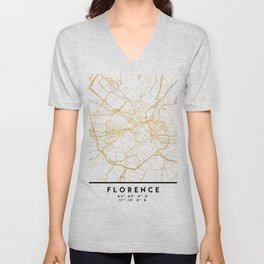 FLORENCE ITALY CITY STREET MAP ART Unisex V-Neck