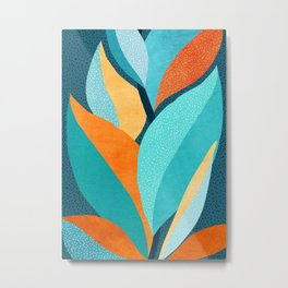 Abstract Tropical Foliage Metal Print