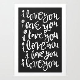 i love you | black Art Print