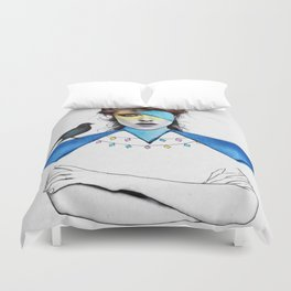 Blue Girl & Black Bird Duvet Cover