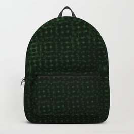 Green pattern on a black background. Backpack