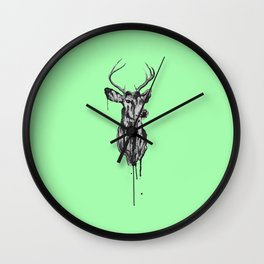 Deer Head III (mint green) Wall Clock
