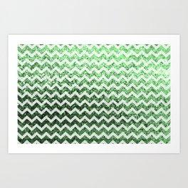 Glitter Sparkly Bling Chevron Pattern (green) Art Print