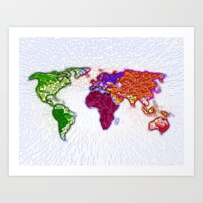 3d World Map Art Print By David Guanga Society6