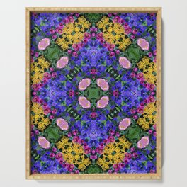 Floral Spectacular: Blue, Plum and Gold - repeating pattern, diamond, Olbrich Botanical Gardens, Mad Serving Tray