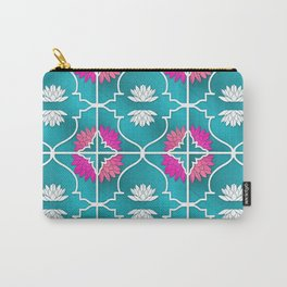 Waterlily Pattern Moroccan Style\ Prana Lotus Flower Carry-All Pouch