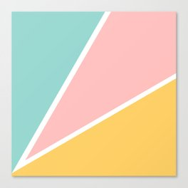 Tropical summer pastel pink turquoise yellow color block geometric pattern Canvas Print