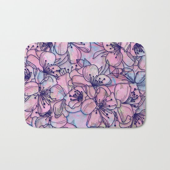 Over and Over Flowers 2 Bath Mat