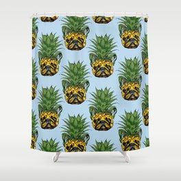 Pineapple French Bulldog Shower Curtain