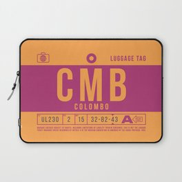 Retro Airline Luggage Tag 2.0 - CMB Colombo Airport Sri Lanka Laptop Sleeve