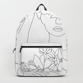 Minimal Line Art Woman with Flowers VI Backpack