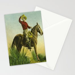 Vintage Western Cowboy On Horse In Grassy Field Stationery Cards
