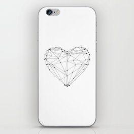 Love Heart Geometric Polygon Drawing Vector Illustration Valentines Day Gift for Girlfriend iPhone Skin