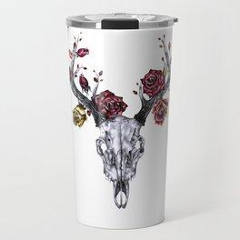 Deer Skull with Roses Travel Mug