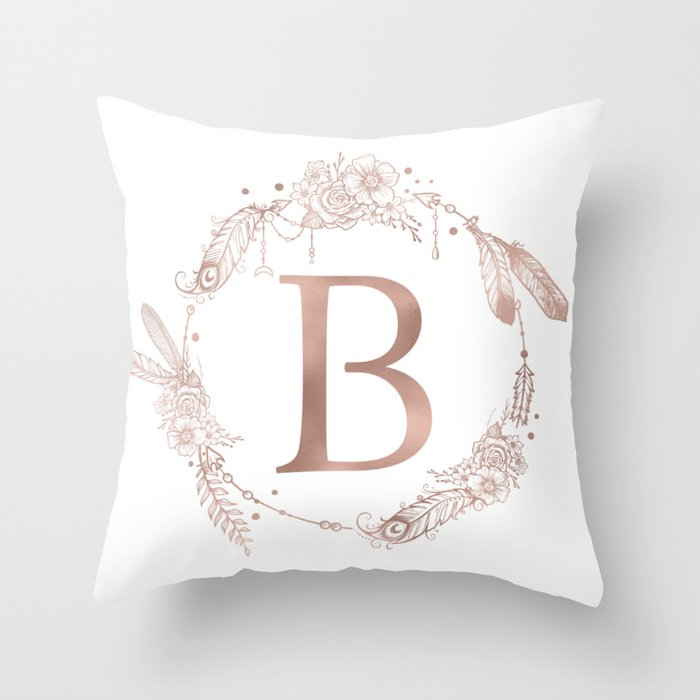 Letter B Rose Gold Pink Initial Monogram Throw Pillow by naturemagick | Society6