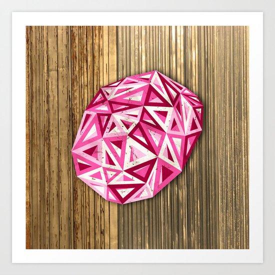 Pink Triangles on Wood Art Print