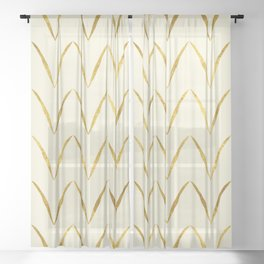 Cream Gold Foil 05 Sheer Curtain
