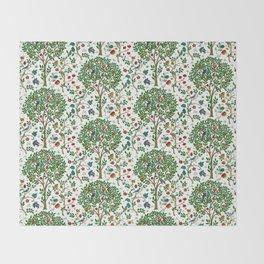 William Morris Tree of Life Pattern, Green & Multi Throw Blanket